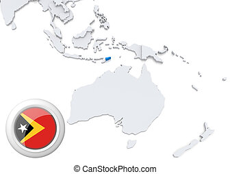 Map of Timor with national flag