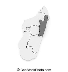 Map of Toamasina. Madagascar. 3d