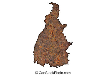 Map of Tocantins on rusty metal