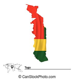 Map of Togo with flag