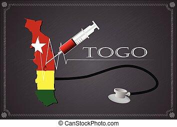 Map of Togo with Stethoscope and syringe.