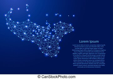 Map of Tonga from polygonal blue lines and glowing stars...
