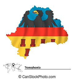 Map of Transylvania with flag