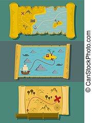 Map of treasure banner horizontal set, flat style