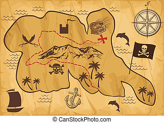 map of treasure island (treasure map, antique map, old map, ...