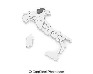 Map of italy trentinoalto adigesuedtirol highlighted drawing