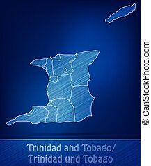 Map of Trinidad and Tobago with borders as scrible