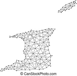 Map of Trinidad and Tobago from polygonal black lines and dots of vector illustration