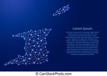 Map of Trinidad and Tobago from polygonal blue lines and glowing stars vector illustration