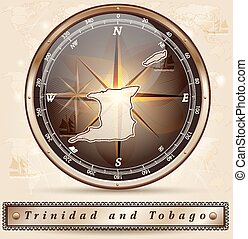 Map of Trinidad and Tobago with borders in bronze