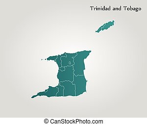 Map of Trinidad and Tobago. Vector illustration. World map