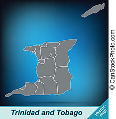 Map of Trinidad and Tobago with borders in bright gray