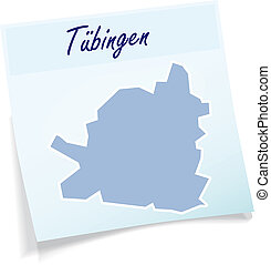 Map of Tuebingen as sticky note in blue