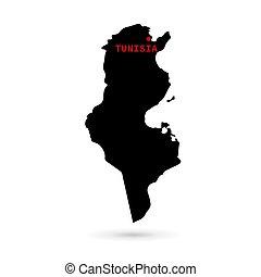 Map of Tunisia black on white background.