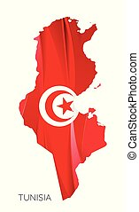 Map of Tunisia Federation with national flag isolated on white background