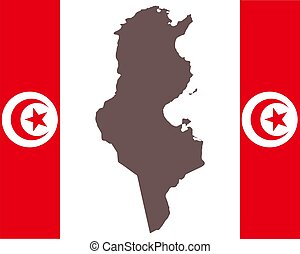 Map of Tunisia on background with flag