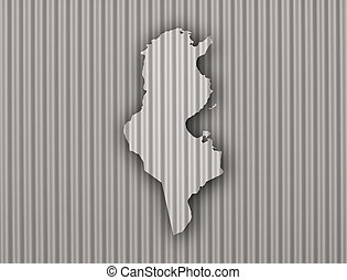 Map of Tunisia on corrugated iron