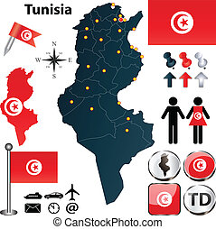 Vector of Tunisia set with detailed country shape with region borders, flags and icons