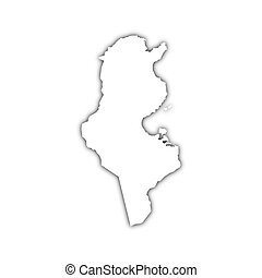 map of tunisia with shadow on white background