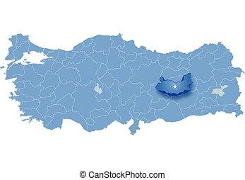 Map of Turkey, Elazig