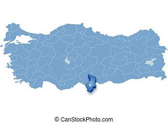 Map of Turkey, Hatay - Map of Turkey where Hatay province is...
