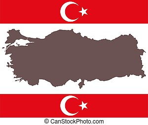 Map of Turkey on background with flag