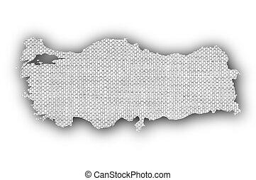 Map of Turkey on old linen
