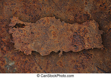 Map of Turkey on rusty metal