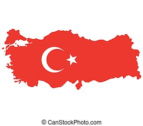 Map of Turkey Turkish flag painted with color symbols of the...