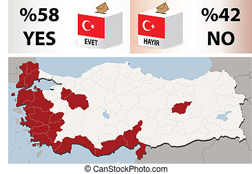 Map Of Turkey with 12 September 2010 referendum results -...