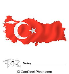 Map of Turkey with flag