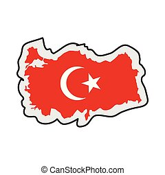 Map of Turkey with its flag