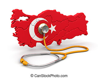 Map of Turkey with Stethoscope