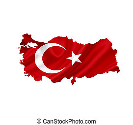 Map of Turkey with waving flag isolated on white