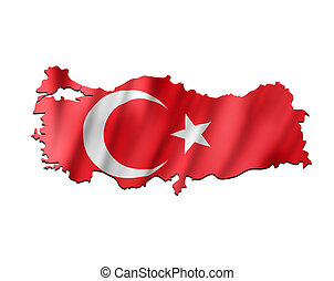Map of Turkey with waving flag