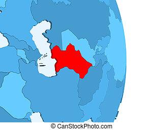 Map of Turkmenistan in red