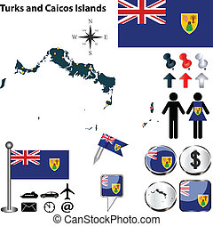 Map of Turks and Caicos Islands - Vector of Turks and Caicos...