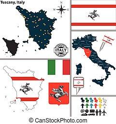Map of Tuscany, Italy