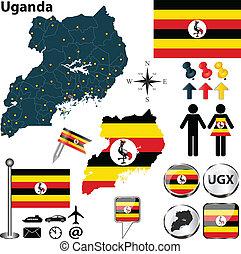 Map of Uganda - Vector of Uganda set with detailed country...