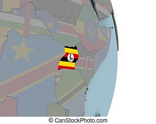 Map of Uganda on political globe with flag