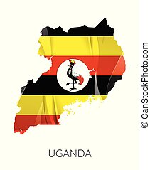 Map of Uganda with an official flag. Illustration on white background