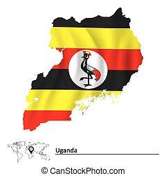 Map of Uganda with flag