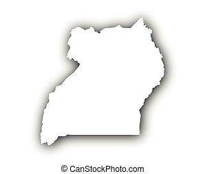 Map of Uganda with shadow
