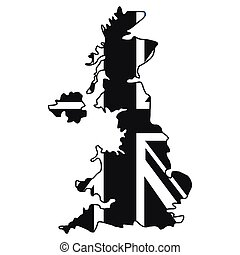 Map of UK of the national flag icon, simple style