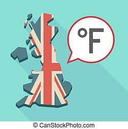 Map of UK with  a farenheith degrees sign