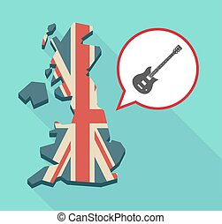 Map of UK with  an electric guitar