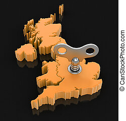 Map of UK with winding key. Image with clipping path.