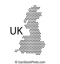 map of UK,dot