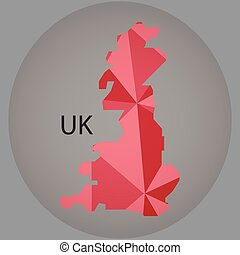 map of UK,low polygon