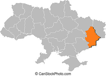 Political map of Ukraine with the several oblasts where Donetsk is highlighted.